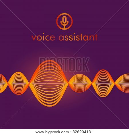 Microphone Button With Bright Voice And Sound Imitation Waves. Communication