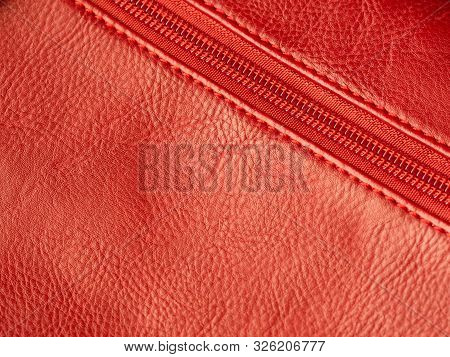 Close-up Of Purse Zipper In Red Color, Place For Text