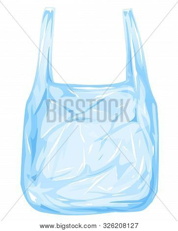 One Empty Plastic Disposable Bag With Handles Isolated Illustration, Thin Transparent Disposable Bag
