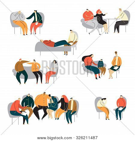 Psychotherapy Session Concept. Cartoon Illustration Of Family, Group, Childrens Psychotherapy, Couns