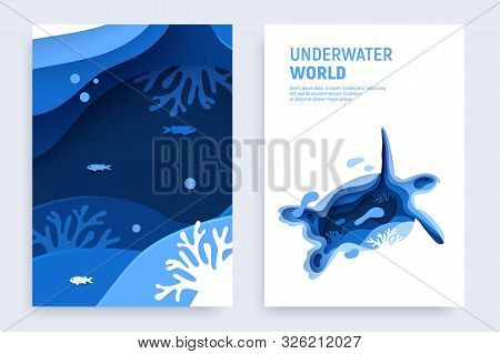 Underwater Ocean Paper Art Banner Set. Paper Cut Underwater Banner Set With Turtle Silhouette, Fish,