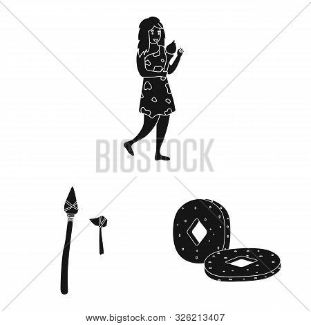 Isolated Object Of Survival And Primeval Logo. Collection Of Survival And Stone Stock Vector Illustr