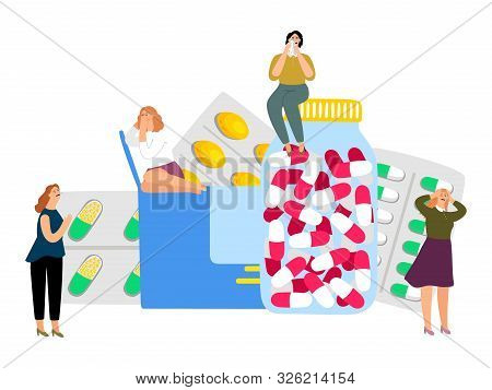 Women and antidepressants. Sedatives, medical treatment for depression. Vector crying girls and pills poster