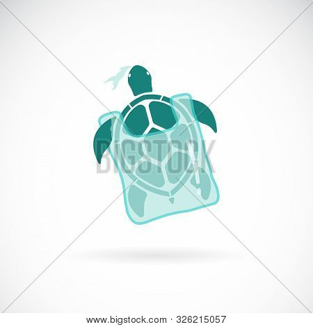 Vector Of Turtle Trapped In A Plastic Bag On White Background., Wild Animals. Underwater Animal. Eas