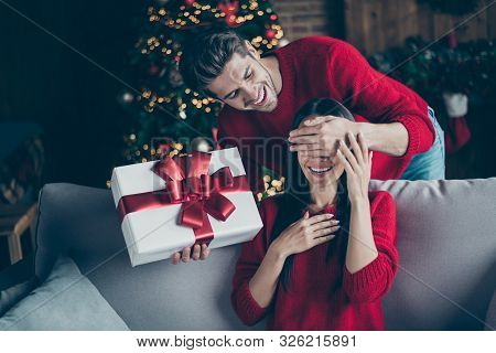 Portrait Of Two Romantic People Man Close Face To His Excited Woman Give Her Present Gift Box On New