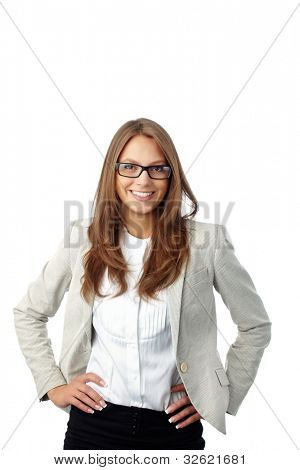 Portrait of a business lady isolated on white background, good for ads and presentations