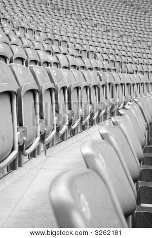 Rows Of Grey Empty Stadium Seats