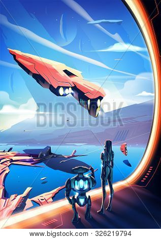 An Imagery Illustration Of A Futuristic City. A Woman Standing With A Robot And Looking Out From Ins