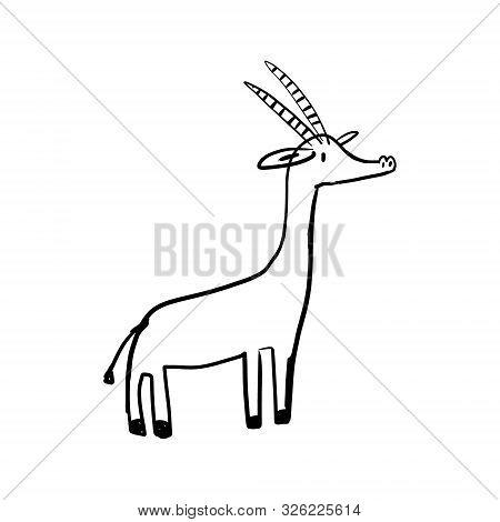 Informative Poster Deer Cub Drawn Style Cartoon. Preteen Pretty Fawn, Few Weeks, Thin Legs. Beautifu