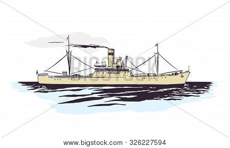 Ship In The Sea On A White Background With Passengers
