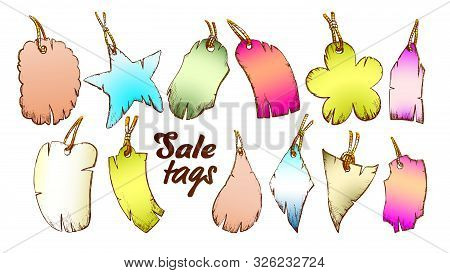Label Tag In Different Forms Set Retro Vector. Collection Of Blank Paperboard Pricetag Label Sale St