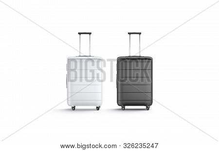 Blank Black And White Suitcase With Handle Mockup Set Stand Isolated, 3d Rendering. Empty Traveler B