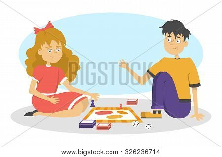 Children Play Board Game. Two Friends Have Fun. Girl And Boy