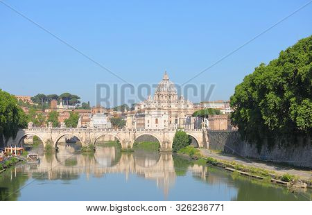 Tiber River St Peters Basilica Cityscape Rome Italy