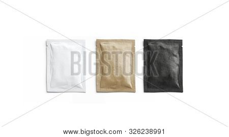 Blank Black, White And Craft Paper Sachet Packet Mockup, Isolated, 3d Rendering. Empty Kraft Coffee