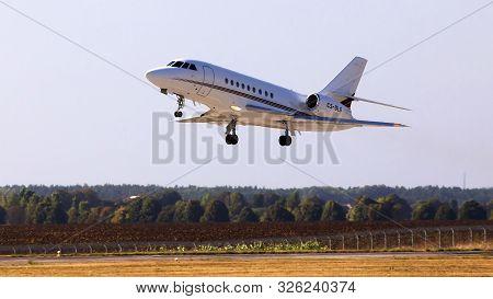 Borispol, Ukraine - September 10, 2019: Cs-dlg Netjets Europe Dassault Falcon 2000 Aircraft Departin