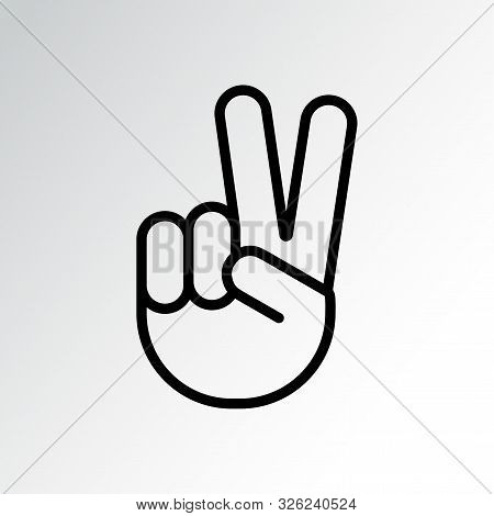 Sign Of Victory Or Peace. Hand Gesture Of Human, Black Line Icon. Two Fingers Raised Up. Vector Illu