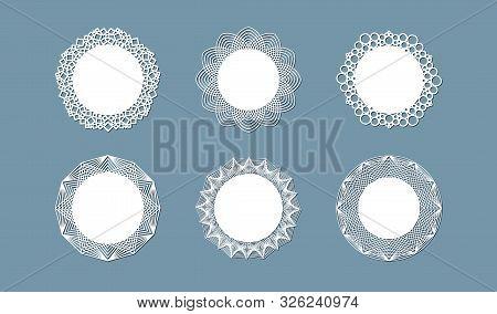 Lasercut Lace Doily Design Round Pattern Ornament Template Mockup Of A Round White Lace Doily Napkin