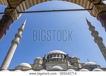 Istanbul,turkey- August 3,2019. General View Historical Süleymaniye Mosque Built By Architect Sinan