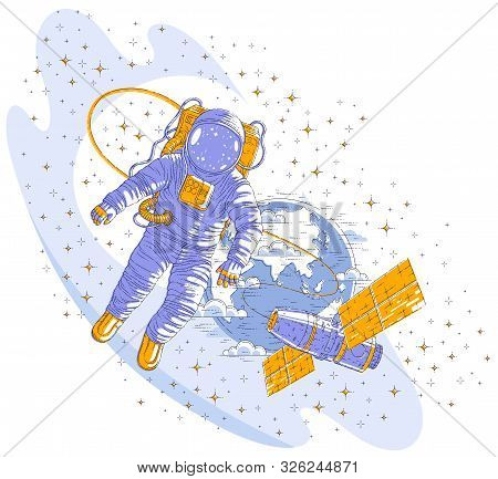 Spaceman Flying Open Space Connected To Space Station And Earth Planet In Background, Astronaut Man