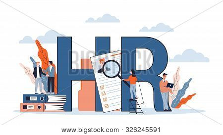 Human Resources And Recruitment Web Banner Concept.