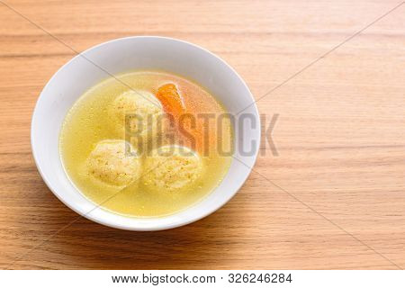 Traditional Matzoh Ball Kneidlach Soup.white Bowl With Authentic Matzo Ball Chicken Taste Hot Soup B