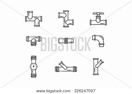 Set Of Linear Icons. Pipe Icons Of Different Sizes And Shapes. Oil Pipeline, Gas Or Water Connection