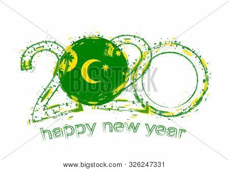 Happy New 2020 Year With Flag Of Cocos Islands. Holiday Grunge Vector Illustration.