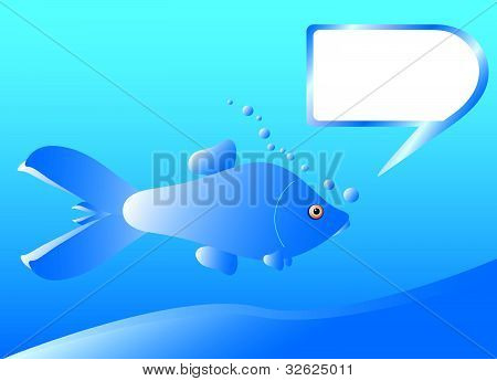 Blue fish with bubble frame, vector