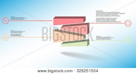 3D Illustration Infographic Template With Embossed Cube Randomly Divided To Four Moved Parts