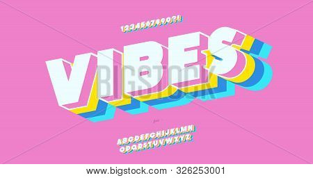 Vector Vibes 3d Bold Font Colorful Style Trendy Typography For Decoration, Logo, Party Poster, T Shi