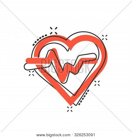 Vector Cartoon Heartbeat Line With Heart Icon In Comic Style. Heartbeat Concept Illustration Pictogr