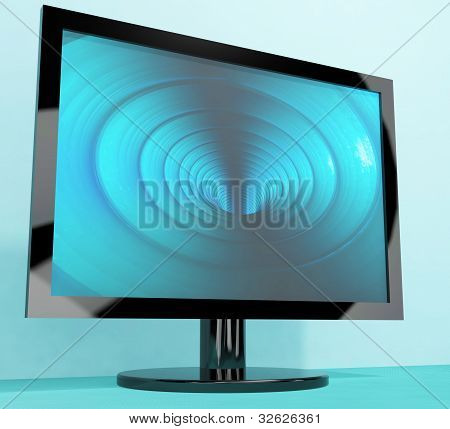 TV Monitor With Blue Vortex Picture Representing High Definition