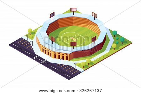 Isometric Cricket Stadium With Grass Field. Sport Pitch With Floodlight, Public Field For Cricketer