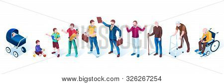 Set Of Isolated People In Aging Stages. Men Generation Growth. Infancy And Childhood, Puberty And Ad