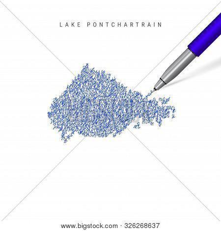 Lake Pontchartrain Sketch Scribble Map Isolated On White Background. Hand Drawn Vector Map Of Lake P