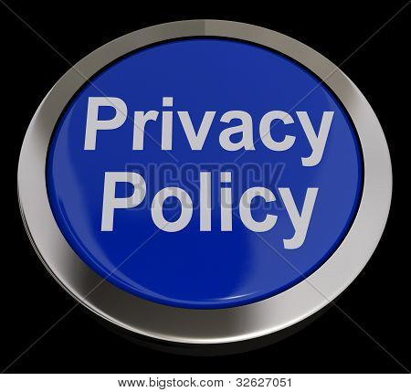 Privacy Policy Button In Blue Shows The Company Data Protection Terms