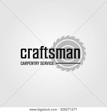 Grinding Craftsman Carpentry Service Vintage Retro Logo Design Illustration