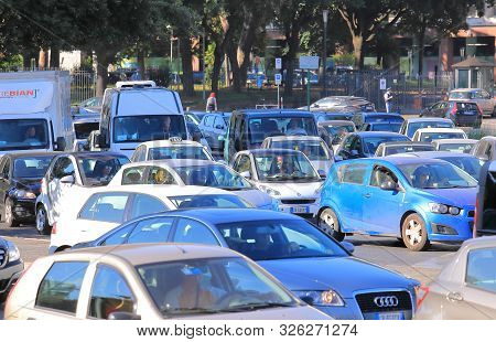 Rome Italy - June 17, 2019: Traffic Jam Congestion Downtown Rome Italy