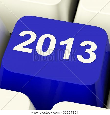 2013 Key On Keyboard Representing Year Two Thousand And Thirteen