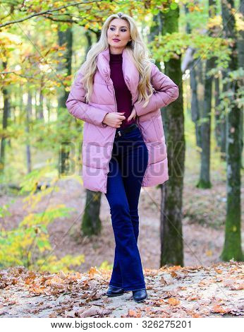 Outfit Prove Puffer Coat Can Look Stylish. Girl Fashionable Blonde Walk In Park. Jackets Everyone Sh