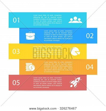 Business Infographics For Presentation, Chart Or Diagram. Template With 5 Elements, Steps, Options,