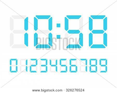 Vector Digital Numbers On White Background For Calculator Or Scoreboard. Alarm Electronic Clock.