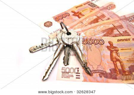 Keys And Russian Banknotes