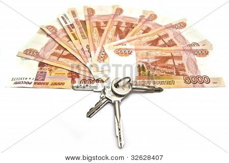 Tree Of Russian Banknotes And House Keys