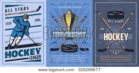 Ice Hockey Player On Sport Rink With Sticks, Pucks And Trophy Vector Design. Forward With Skates, Un