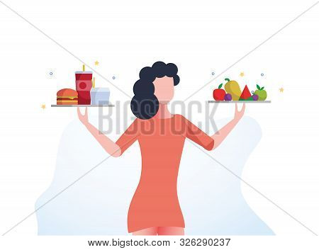 Healthy And Unhealthy Lifestyle Infographics. Girl With Healthy And Unhealthy Food, Fitness, Diet. W