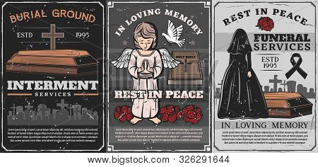 Funeral Ceremony Of Burial, Cremation And Interment Service Vector Poster. Vintage Cemetery With Cof