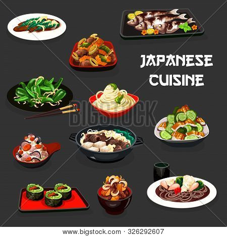 Japanese Cuisine Vegetable Sushi, Noodle And Rice Dishes With Fish And Meat. Vector Salads With Cucu