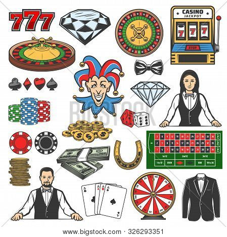 Casino Icons Of Gambling Games Vector Design. Roulette, Dice And Chips, Playing Cards, Poker And Bla